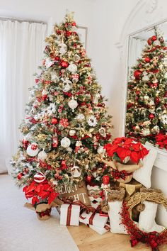 KRISTY WICKS-- Red & White New England Style Christmas Tree - Traditional yet modern with pops of red, white and gold. Affordable and elegant for 2019 holiday decor White Christmas Tree With Red, Elegant Christmas Trees, Traditional Christmas Tree, Farmhouse Christmas Trees, Colorful Christmas Tree, Scandinavian Christmas, Christmas Christmas, Christmas Crafts, Xmas