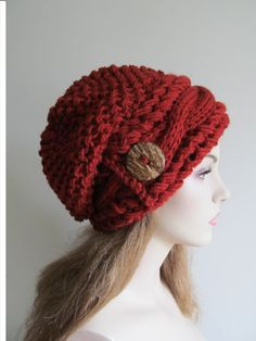 Slouchy Beanie Cabled Slouch Hats Wood Button Braided by Lacywork
