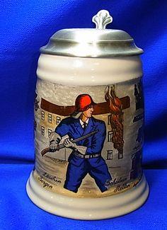 Vintage German Tin Top Lidded Beer Stein Handpainted Firefighter Motive