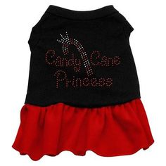 Candy Cane Princess Rhinestone Dog Dress - Black with Red-Large  15% Discount - Use code DOGGIE at Checkout   http://www.gingersdoggieheaven.com #HolidayDogClothes 15% Discount - Use code DOGGIE at Checkout