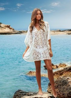 1f6c4b0b4650f 2016 Out put To Beach Dress Lace Tunic Bathing Suit Cover Up Crochet Pareo  Beachwear Fashion Low Neckline Sexy Swimsuit