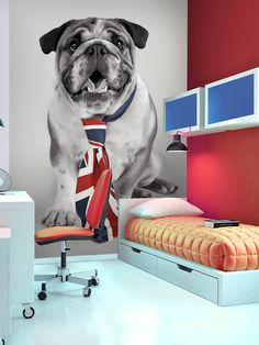 British Bulldog Union Jack Wall Mural x British Decor, Puppy Stages, British Bulldog, Bedroom Accessories, Union Jack, Puppy Love, Wall Murals, Home Furniture, Dogs
