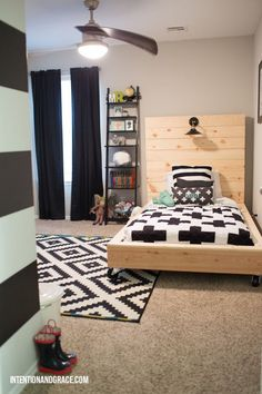 Bedroom redo for a growing toddler boy transition from crib to twin bed.  |  intentionandgrace.com