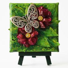 Butterfly on red flowers (Pillangó vörös virágokon) - 10 x 10 cm (10 x 14 cm), 2018 #paverpol #textile #textil #acrylic #akril #vivienholl #butterfly #pillangó #virágok #flowers Techno, Painting, Art, Art Background, Painting Art, Kunst, Paintings, Performing Arts, Techno Music