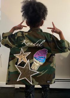 Kids Military Jacket, Kids Army Jacket, Kids Jacket with Patches, Ice Cream Patches Army Camo Jacket, Baby Denim Jacket, Camouflage Jacket, Kids Designer Jackets, Militar Jacket, Army Fatigue Jacket, Thrift Store Diy Clothes, Kids Army, Camouflage Fashion