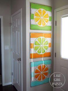 Lake Girl Paints: DIY Wall Art - Citrus Stripes