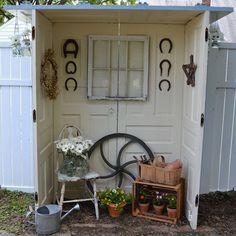 DIY-Repurposed doors into A Cute Patio-Garden Space Tutorial