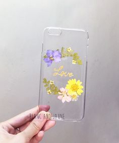 Love, Pressed flower phone case, Meaningful word phone case, Handmade phone case, Iphone 6 plus case, Samsung phone case, Any word, Gift