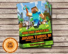 Minecraft Birthday Party Invitation  - Digital File