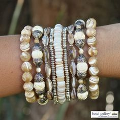 DIY Mother of the Sea Bracelet Stack by Denise Yezbak Moore featuring Bead Gallery beads available at Michaels Stores Sea Jewelry, Stone Jewelry, Jewelry Crafts, Beaded Jewelry, Handmade Jewelry, Fashion Bracelets, Jewelry Bracelets, Jewelery, Pandora Bracelets