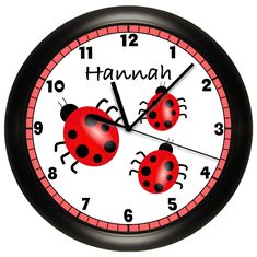 Personalized Ladybug Wall Clock Children's Bedroom Girl's Room Red Black. $14.99, via Etsy.
