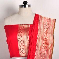 Red Banaras Silk saree  www.tadpolestore.com #IndianEthnic #designer #sarees #women #fashion #clothing #sari