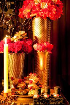 Flower arrangemnts for a Moulin Rouge bridal shower.