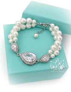 Wedding Bracelet Swarovski Pearl Zirconia by PureRainDesigns, $38.00
