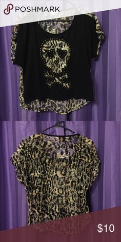 Cute cheetah shirt :) Cute black shirt with sheer cheetah skull on front and sheer on back:) size medium.. ❌❌selling items to help send my younger sister to Washington DC for school❤️ BONGO Tops Tees - Short Sleeve