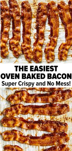 Learn how to cook bacon in the oven! Cooking bacon in the oven creates perfectly crispy, delicious bacon. It's also super easy, creates less mess than cooking it on the stovetop and allows you to mult Pork Recipes, Paleo Recipes, Real Food Recipes, Cooking Recipes, Easy Bacon Recipes, Paleo Menu, Cooking Videos, Cooking Tips, Recipies