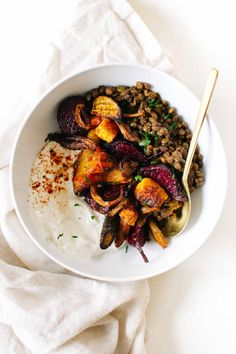 Harissa Lentils with Roasted Veggies & Yogurt