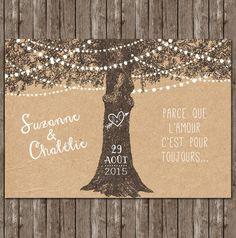 faire-part rustique arbre romantique