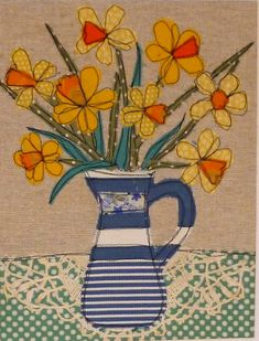 sew - more gorgeous aplique art - Daffodils by Loopy Linnet Freehand Machine Embroidery, Free Motion Embroidery, Machine Embroidery Applique, Applique Patterns, Free Motion Quilting, Applique Quilts, Applique Designs, Embroidery Cards, Fabric Cards