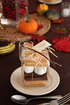 """""""Have S'more Love"""" wedding favor... Would need to add more chocolate on top of mallows to balance it out =P"""