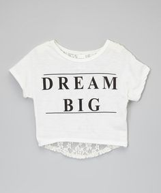 White 'Dream Big' Lace-Back Crop Top - Girls