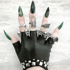 Hands need to be warm but still pretty! @heartofbone_ #jewellery #rings #nails #stilettonails #gloves #leather #altclothing #altgirl #style #fashion #black #pretty #iloveblack #elegant #punkclothing #blackclothing #gothicfashion #allblack #loveblack #darkglamour #missblacksole #allblackeverything #altstyle#alternative#darkbeauty #chic #decadence #gothic #weird
