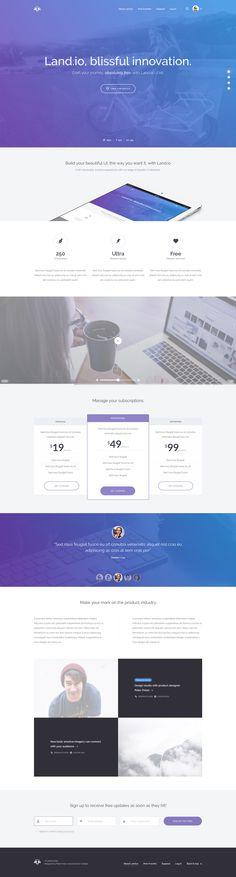"""Freebie: """"Land.io"""" UI Kit + Landing Page Design (Sketch)"""