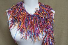 Fringe Binge Scarf Necklace in Shades of Mauve by pflumsthumbs, $30.00