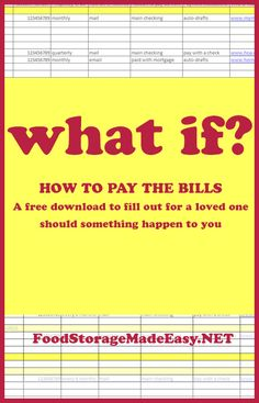 WHAT if something happened to me? Leaving directions for those left behind about how to pay finances, etc. Hurricane Preparedness, Disaster Preparedness, Provident Living, Household Binder, Home Management Binder, Budgeting Worksheets, Frugal Living Tips, Budgeting Finances, Things To Know