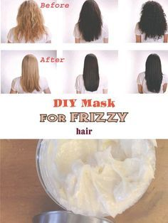 This DIY masks for frizzy hair help both to prevent and to combat the frizz resulting from the bad weather elements or from other bad habits. Also, another cause may be genetic, dating back to a grandmother or a distant aunt.Next to DIY Masks for fri Frizzy Hair Remedies, Frizzy Hair Tips, Haircuts For Frizzy Hair, Hair Frizz, Frizzy Hair Styles, Thick Frizzy Hair, Thinning Hair, Men's Hair, Dry Hair