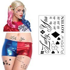 Harley Quinn Inspired Temporary Tattoos - Face, Waist, & Leg Tats