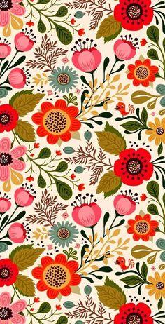 Wallpaper - La vie côté Green - Little Léonie - Handmade & Jolies Choses Surface Pattern Design, Pattern Art, Motif Floral, Floral Prints, Floral Theme, Floral Pattern Print, Floral Design, Art Floral, Art Prints
