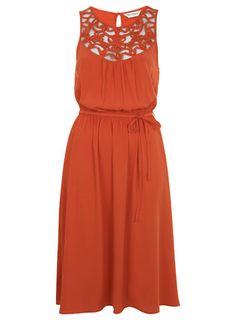 Cornelli Trim Midi Dress