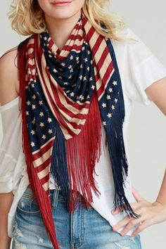 American flag printed scarf with contrast fringe accent.  Stars Stripes Shawl by Shop 603. Accessories - Scarves & Wraps Miami Florida