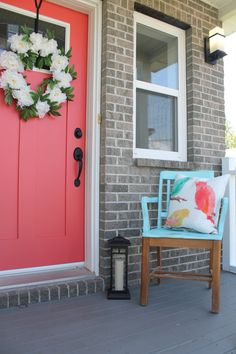 Give your front porch some punch with an old chair & some paint