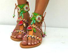 Gladiatorensandalen aus Leder schwarz Schnürschuhe Sandalen
