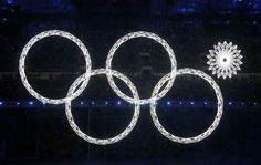 Four of five Olympic Rings are seen lit up during the opening ceremony of the 2014 Sochi Winter Olympics, February 7, 2014.  REUTERS/Lucy Ni...