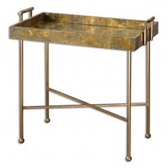 Uttermost - Uttermost Couper Oxidized Tray Table - Wooden tray-styled top covered in oxidized copper sheeting, with iron handles and frame finished in burnished gold leaf. Sofa Table Decor, Sofa End Tables, Table Decorations, Coffee Tables, Accent Furniture, Table Furniture, Modern Furniture, Copper Furniture, Basement Furniture