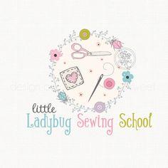 sewing logo design seamstress logo fabric shop logo premade logo design clothing logo design quilt shop logo ladybug logo design watermarkn