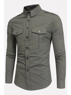 ZEROYAA Mens Tactical Epaulet Style Slim Fit Long Sleeve Casual Button Down Shirts with Pocket army green Long Sleeve Shirt Dress, Long Sleeve Shirts, Dress Shirt, Casual Button Down Shirts, Casual Shirts, Stylish Shirts, Cargo Shirts, Cargo Work Pants, Men Hair Styles