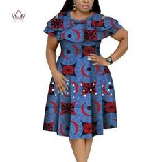 Image of New Bazin Riche African Ruffles Collar Dresses for Women Dashiki Print Pearls Dresses Vestidos Women African Clothing African Dresses Plus Size, Short African Dresses, African Print Dresses, African Fashion Ankara, Latest African Fashion Dresses, African Print Fashion, African Fashion Traditional, African Print Dress Designs, African Attire