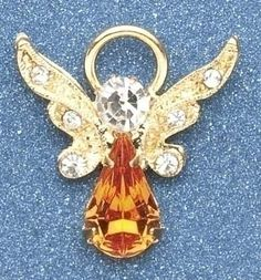 "Pack of 8 Religious November Birthstone Jeweled Angel Pins 1"" by Roman. $44.99. Pack of 8 November Birthstone Angel PinsItem #10411Each of these darling angel pins feature an amber birthstone, clear stone accents and ornate gold wingsDimensions: 0.75""H x 0.5""W x 0.25""DMaterial(s): metal/crystalPack includes 8 of the pin shown. Save 10% Off!"