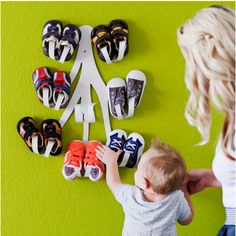 Modern, fab way to organize shoes! #modernnursery #summerinthecity curl babi, shoerack, babi shoe, babyshoes, kid shoes, organize kids, shoe storage, baby shoes, shoe racks