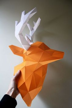 Kits from Paper Trophy for making sturdy paper elk, rhinos, elephants, unicorns, and more. Here's the one I made for my office wall. Available from PaperTrophy.com