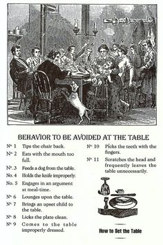 Behavior to be avoided at the table. Table Manners, Good Manners, Vintage Modern, Life Skills, Life Lessons, Lady Rules, Dining Etiquette, Etiquette And Manners, Finishing School