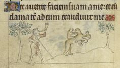 Detail of a mother ape being hunted, from the Queen Mary Psalter, England, c. 1310 – c. 1320, Royal MS 2 B VII, f. 107v  The Bestiary developed these themes (see the copy in Royal MS 12 F XIII here) by giving an account of a mother ape fleeing hunters and carrying twins, her favourite in her arms and her least favourite on her back.