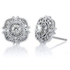 Chrisanta's CZ Vintage Stud Earrings | Famous Jewelry Designs