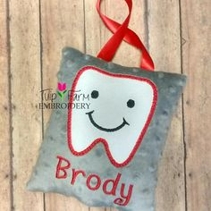 When that tooth starts to wiggle have him pick out his favorite colors for his official tooth fairy pillow!