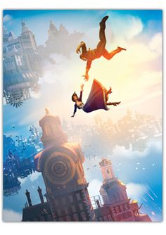 BioShock Infinite Falling Art Poster  $15.00 This unique BioShock Infinite poster features Booker falling through the skies of Columbia after Elizabeth.