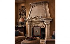Tuscan Living Room With Fireplace. Suggestions About The Way To Fixing Your Property's Tuscan Interior Marble Fireplace Surround, Stone Fireplace Mantel, Stacked Stone Fireplaces, Classic Fireplace, Vintage Fireplace, Simple Fireplace, Marble Fireplaces, Fireplace Surrounds, Fireplace Design